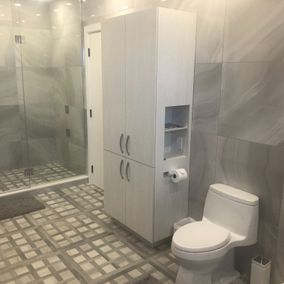 view of a bathroom from a corner