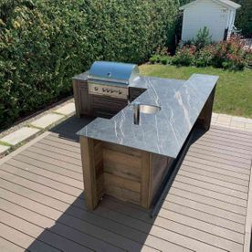 top view of outdoor kitchen appliances